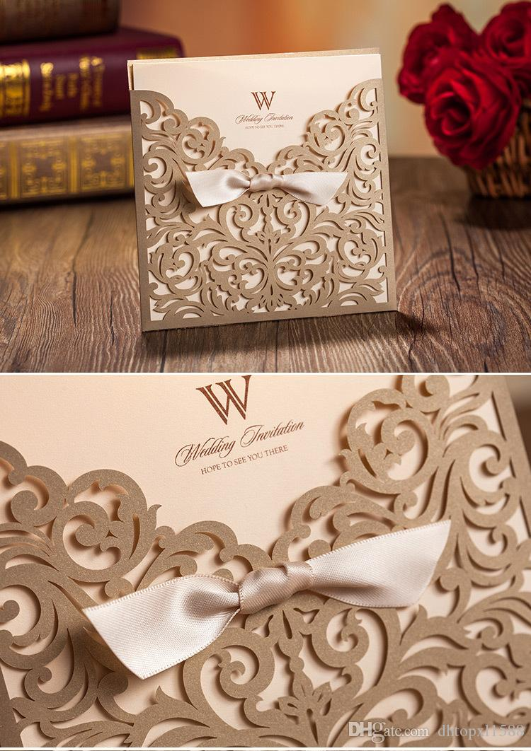 laser cut wedding invites canada%0A     Laser Cut Flower Wedding Invitation Cards Personalized Gold Hollow  Wedding Party Printable Invitation Cards Ribbon with
