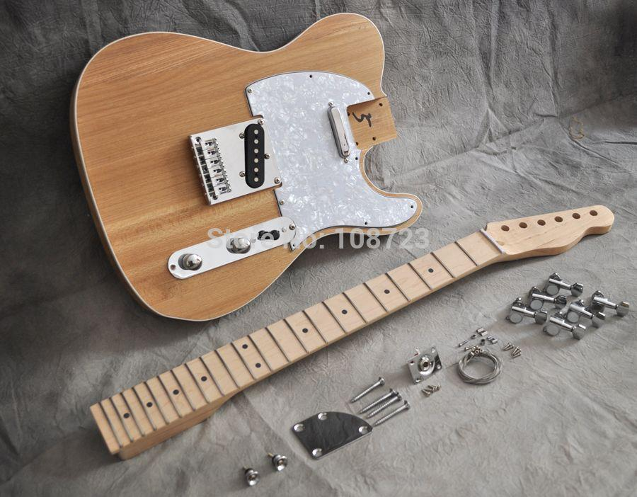 DIY Electric Guitar Kit Vintage Style With Alder Body And Maple Neck Fingerboard Luthier Builder Kit