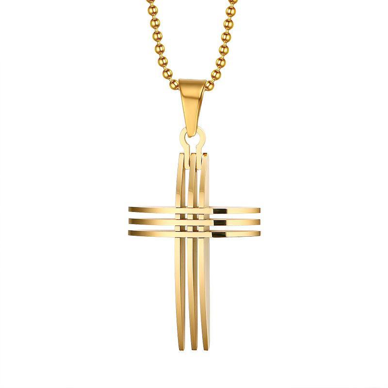 Moda collana croce pendenti in acciaio inox placcato in oro 18 carati con catena da 20 pollici per le donne uomini PN-127