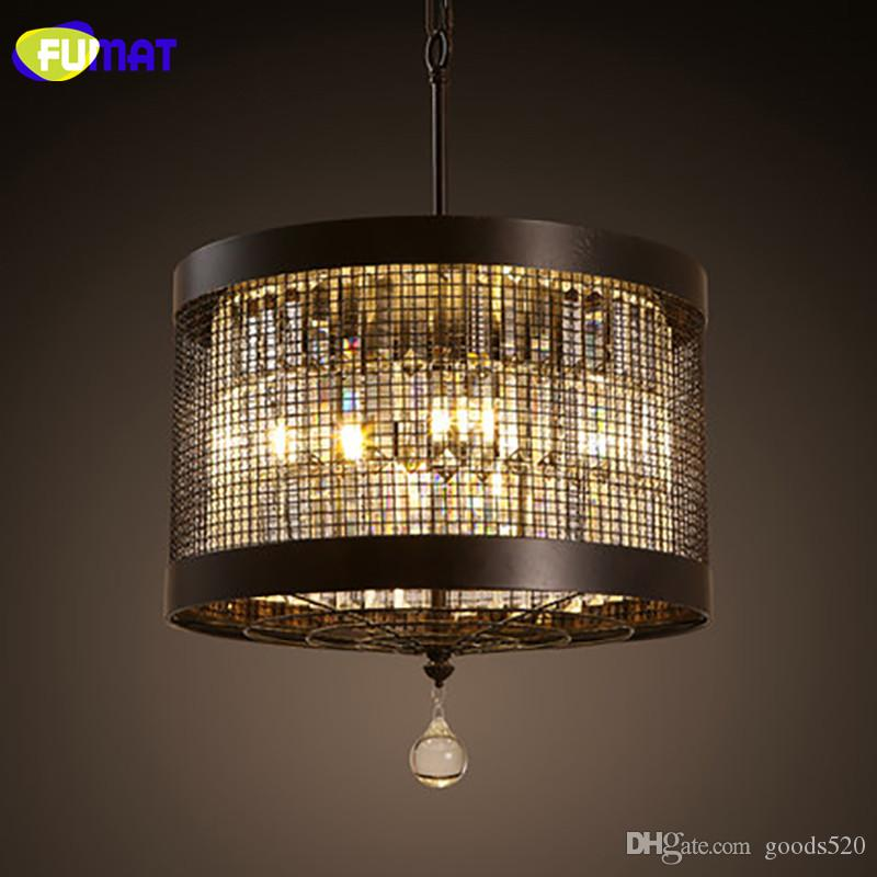FUMAT Pendant Lights Round Pendant Lamp for Dinning Room Iron Hanging Light Fixture with Crystal Pendant