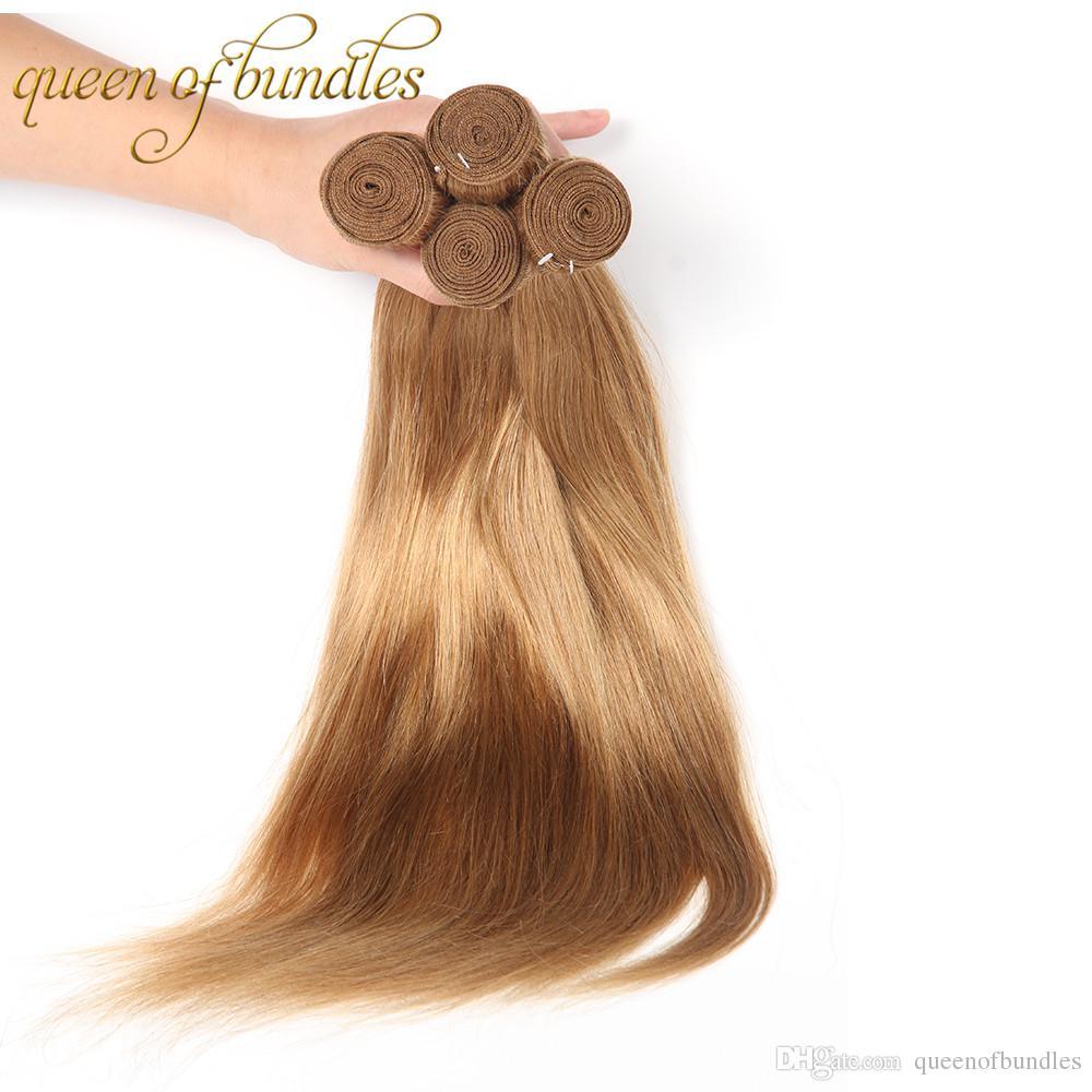 Paquetes de rubios peruanos Color 27 Honey Blonde Indian Cambodian malayo Paquetes de tejido de cabello Extensiones de tejido de cabello humano recto 3 paquetes