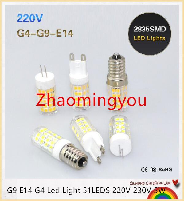 G4 G9 E12 E14 Led Bulb Light 51LEDS 220V 5W Corn Bulb SMD2835 Ceramics Candle lamps For Crystal Chandelier Lighting White/WW