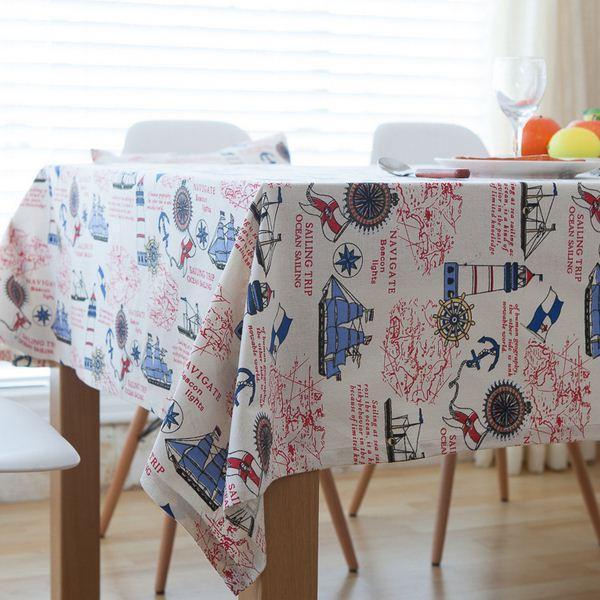 cartoon cotton linen table cloth mediterranean style anchors print rh m dhgate com