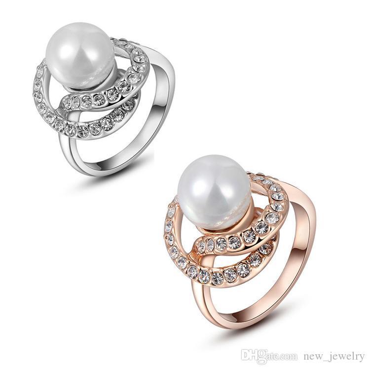 Mode 18K Rose Goud en Wit Vergulde Pearl Rhinestone Groene Ring Oostenrijkse Diamond Crystal Trouwjurk Ringen