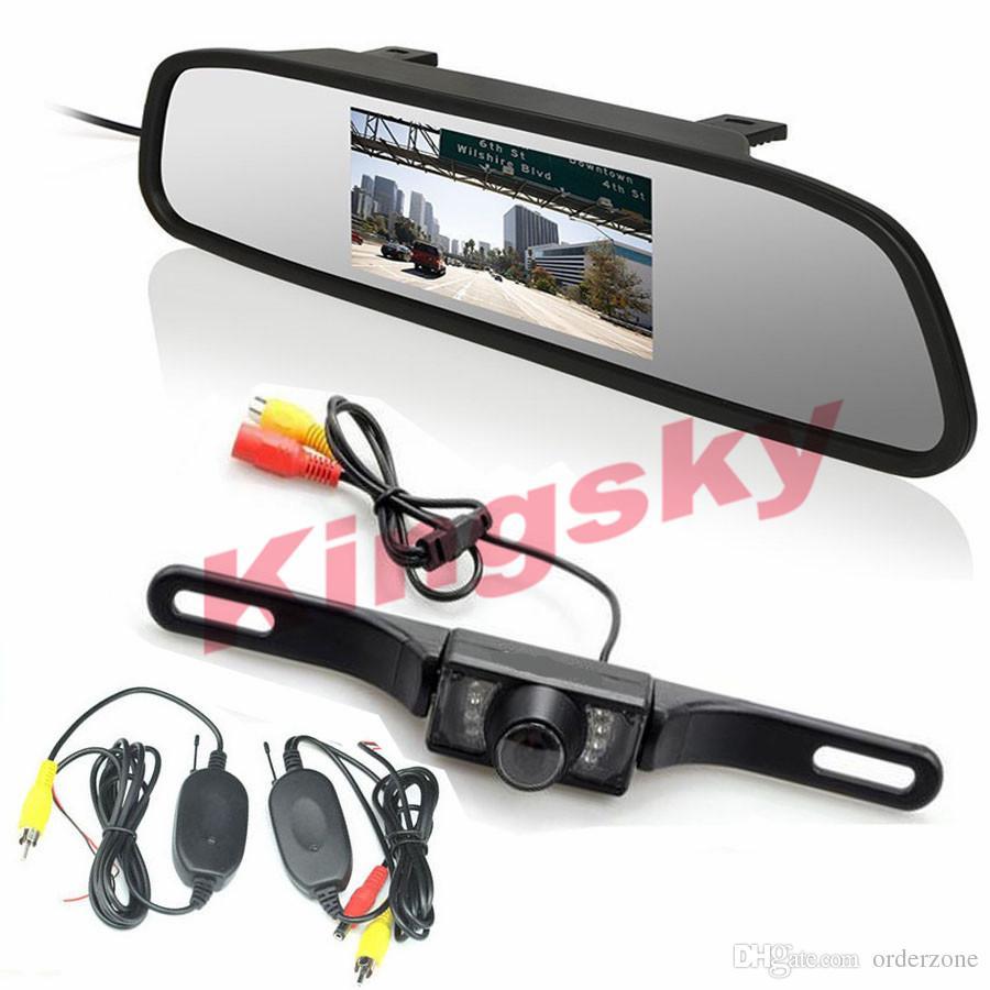 """Kit retrovisore per auto wireless 4.3 """"Monitor per specchio LCD per auto + 7IR LED Night Visison Telecamera per retromarcia"""