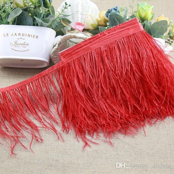 Avestruz Pena aparamento 10m / lot muitas cores de penas de avestruz Fringe 5-6inch Largura Feather Boa Stripe para o partido Vestuário Acessórios