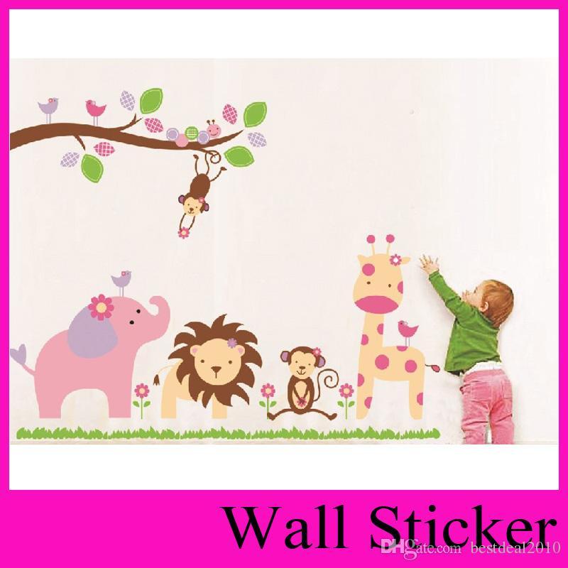 """동물 유치원과 나무와 새로운 핑크 귀여운 동물원 98 * 115cm / 38 """"* 45 이동식 벽 스티커 공장 ZooYoo 869"""