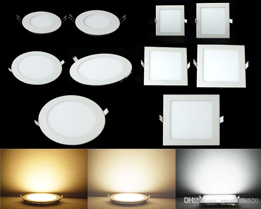 Dirigé vers le bas blanc # 25 Chaud / Froid / naturel plafond Lumières Lumières Panneau 3W 6W 9W 12W 15W 18W 24W LED encastré Lumières Spots Luminaire vers le bas