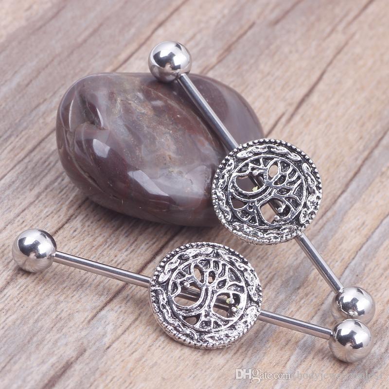 L'albero della vita Logo Piercing industriale del bilanciere del piercing ha messo con i gioielli del corpo dei gioielli dei gioielli dell'orecchino 12pcs dell'acciaio chirurgico