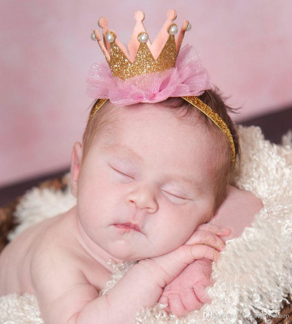9 ألوان الطفل الأميرة تاج عقال الاطفال بلينغ مرونة أغطية الرأس الوليد الأطفال الدانتيل اكسسوارات للشعر دبوس الشعر hairbands الانحناء