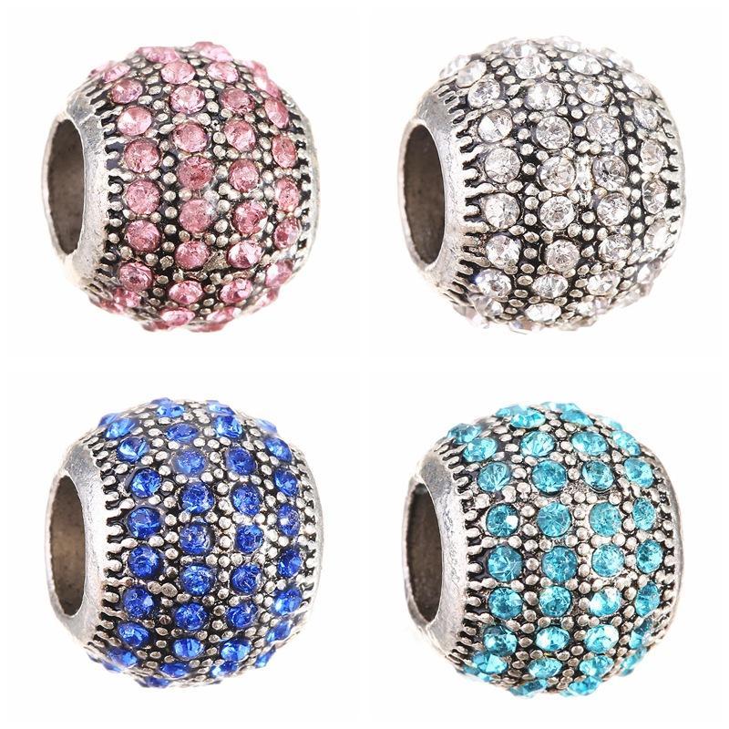 Perles de cristal complet bricolage perlé bijoux accessoires alliage gros trou perles en vrac en verre perles charmes Fit Pandora Bracelet colliers
