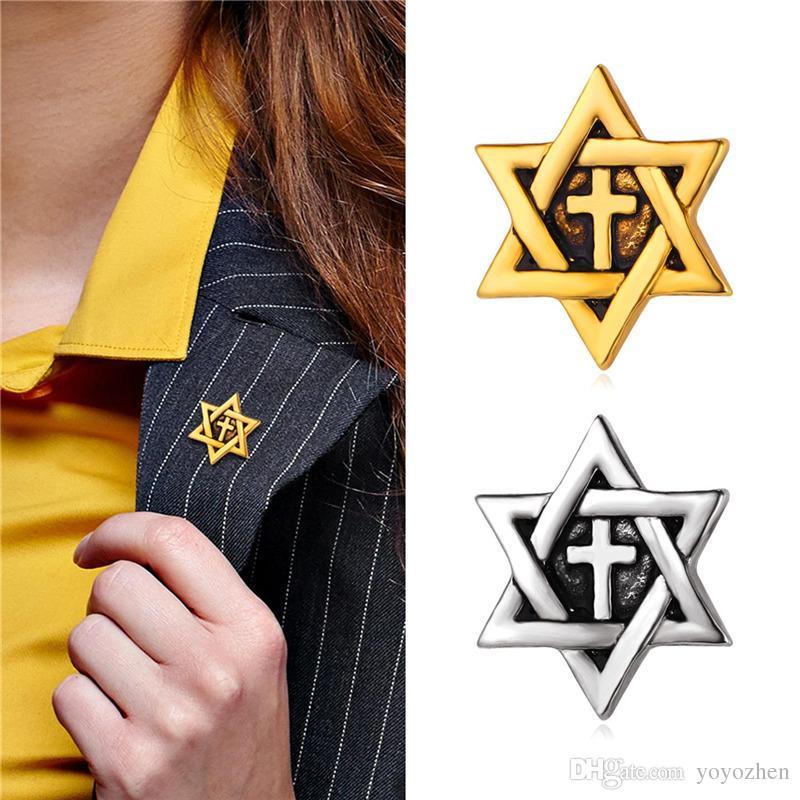 Femmes / Hommes 18K Broches Plaqué Or Véritable Pin Platinum Plaqué CrossStar de David Broche pour Costume / Chemise