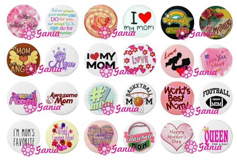 Botões De Pedra De Vidro Cabochão Intercambiáveis Eu Amo A MÃE Feliz Dia Das Mães Presente Botão DA MAMÃ para Jóias Brinco Colar Brinco Anel de Pressão