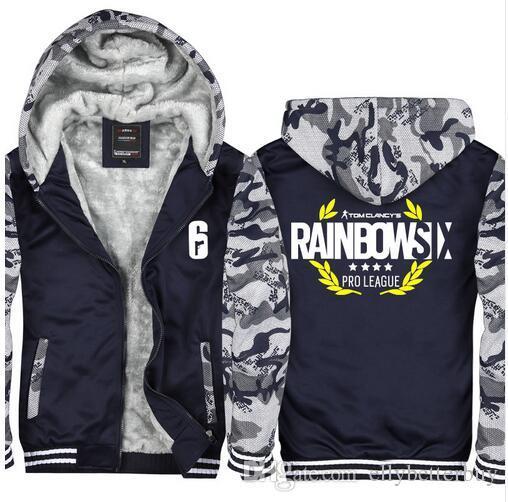de Nova Camuflagem Tom Clancy Rainbow Six Siege Hoodies Zip até Grosso Inverno quente super algodão com capuz revestimento do revestimento dos homens de manga comprida