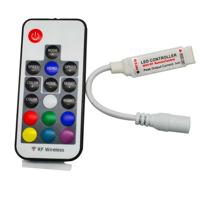 Светодиодный RGB контроллер DC5V-24V 12A 17KEY Mini RF-беспроводной дистанционный дистанционный дистанционный для 5050 3528 RGB Гибкая полоса