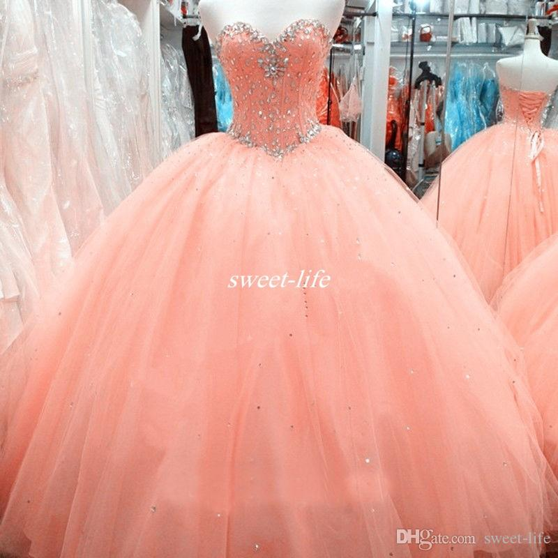 Custom Made Cheap Girls Sweet 15-16 Debutantes Dress Ball Gown Sweetheart Corset Peach Tulle Beaded Neck 2019 Prom Gowns Quinceanera Dresses