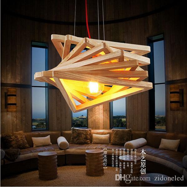 Nouveauté moderne fait main pendentif en bois lumières lustres éclairage E27 pour bar restaurant salle à manger décoration éclairage intérieur