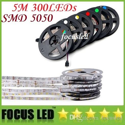 방수 IP65 300 LED 5m 5050 SMD 단일 색상 유연한 LED 스트립 빛 멋진 흰색 따뜻한 흰색 60LEDS / M LED 테이프