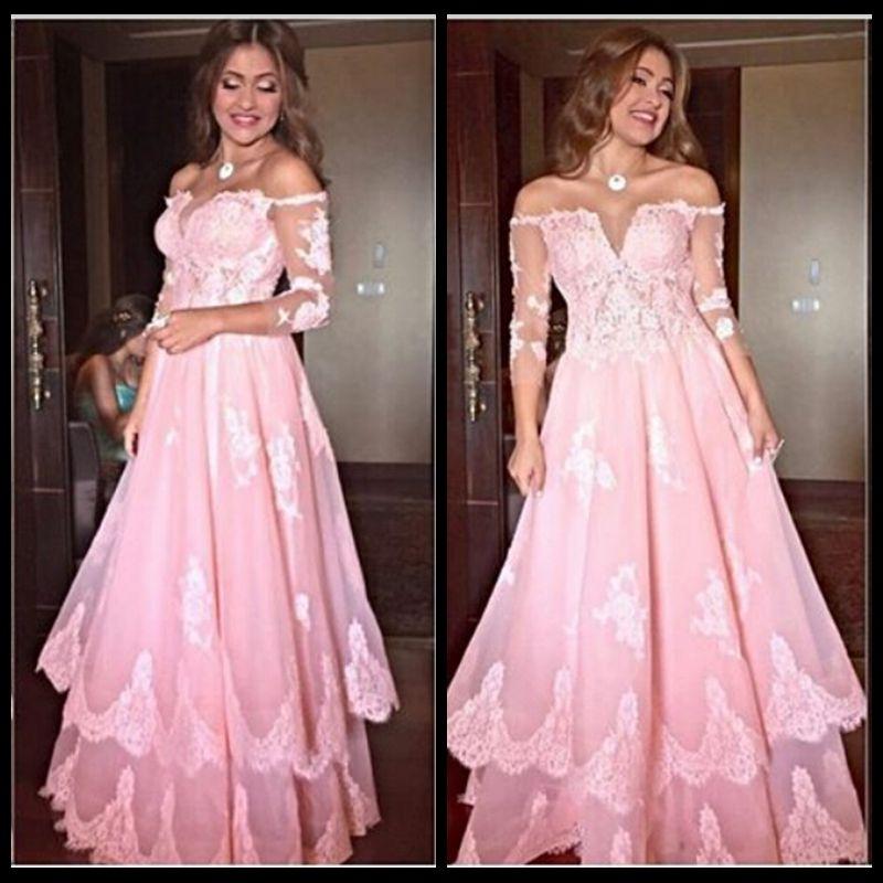 Neue ankunft sexy v-ausschnitt prom kleider 2016 rosa 3/4 langarm spitze appliques tüll bodenlangen vestido de festa abendkleid