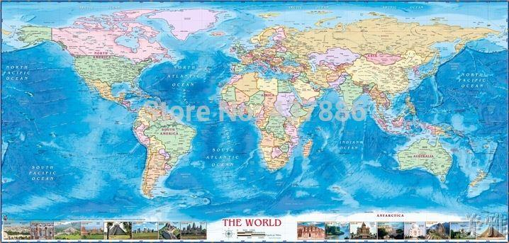 100*48cm real Cloth map of the world ocean wallpapper sofa background decorative painting world map wall stickers home decor