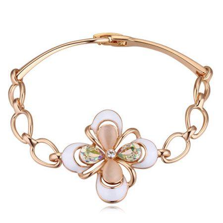 High End Refinamento Romântico Opal de Cristal Austríaco Flor Trevo Moda Jóias Finas Acessórios Pulseiras Declaração Pulseiras Para As Mulheres