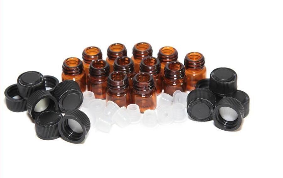 Flacon de 1 ml (1/4 dram) d'huile essentielle de verre ambré tubes d'échantillon de parfum flacon avec bouchon et bouchons