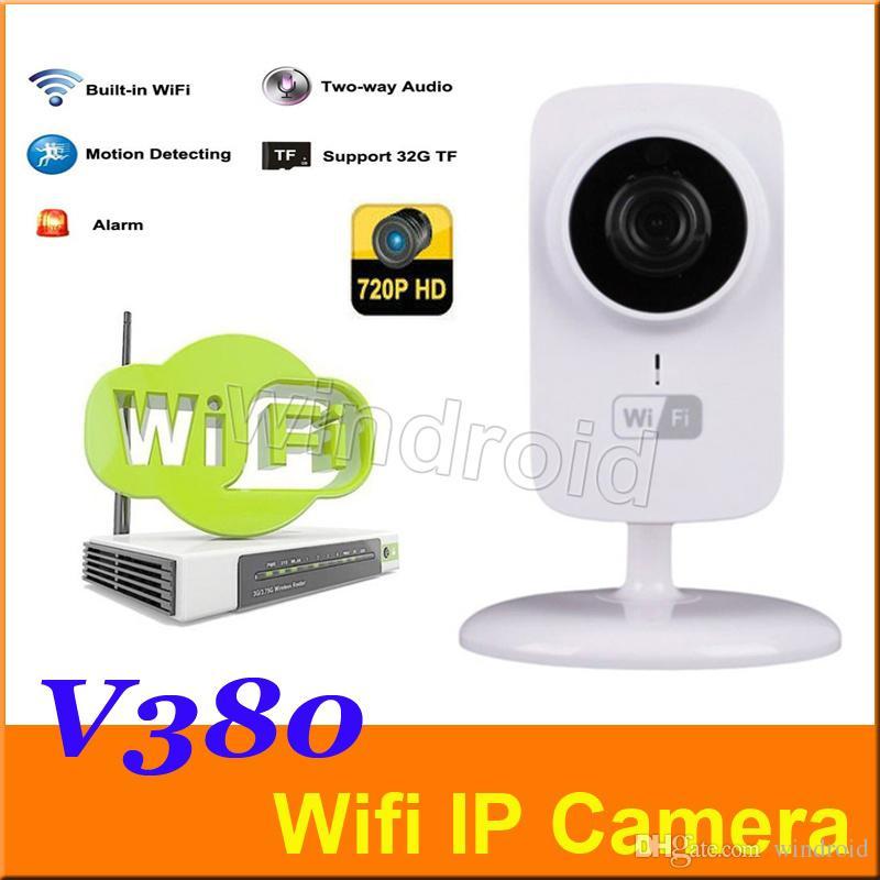 El más barato 70pcs V380 720P P2P Mini cámara IP inalámbrica Wifi Monitor de bebé para soporte de seguridad para el hogar Visión nocturna con paquete minorista DHL gratis