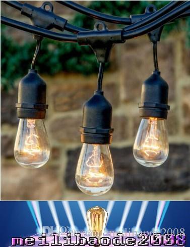 48 pies (14.8m) Luz de cadena de vendimia al aire libre con 15 incandescentes 5W E27 Bulbos transparentes Black Plug-in Cord Globe Light String Set Myy161