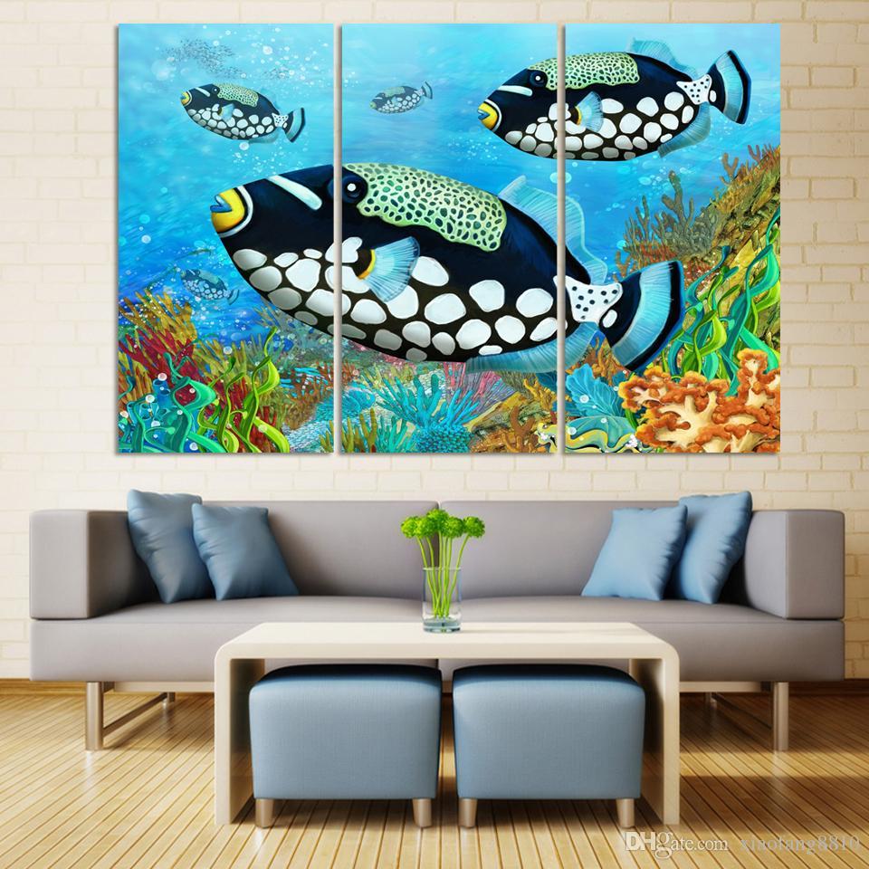 Acheter Mur Art HD Océan Poisson Coloré Image Moderne Impression Sur Toile  Peintures À L\'huile Décoration De La Maison Pour Salon Peinture Sur Toile  ...