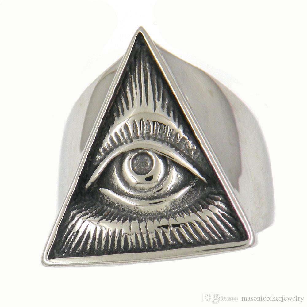 Uomo Acciaio FANSSTEEL o wemens masonary libero gioielli tringle occhio che tutto vede DIO CON LA TRAVERSA MIRACOLO ANELLO 12W82