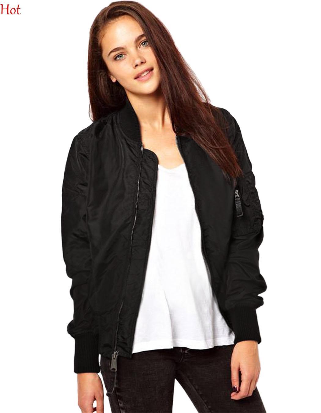 Women Bomber Jacket 2016 Autumn Spring Ladies Jackets Tops Solid Color Zipper Baseball Coats Slim Sport Jackets Women Black Green SV027216