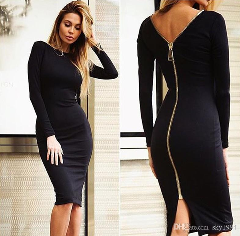Women Clothing back zipper Dress, Celebrity sexy and cultivate one's morality, Sheath/Column Evening Brand Dress