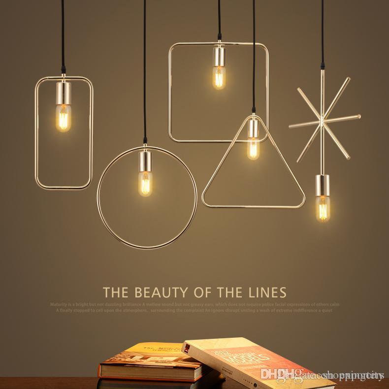 Heiße neue einfache geometrische Pendelleuchte Eisen Loft kreative minimalistische Lampe industrielle Vintage LED Pendelleuchten