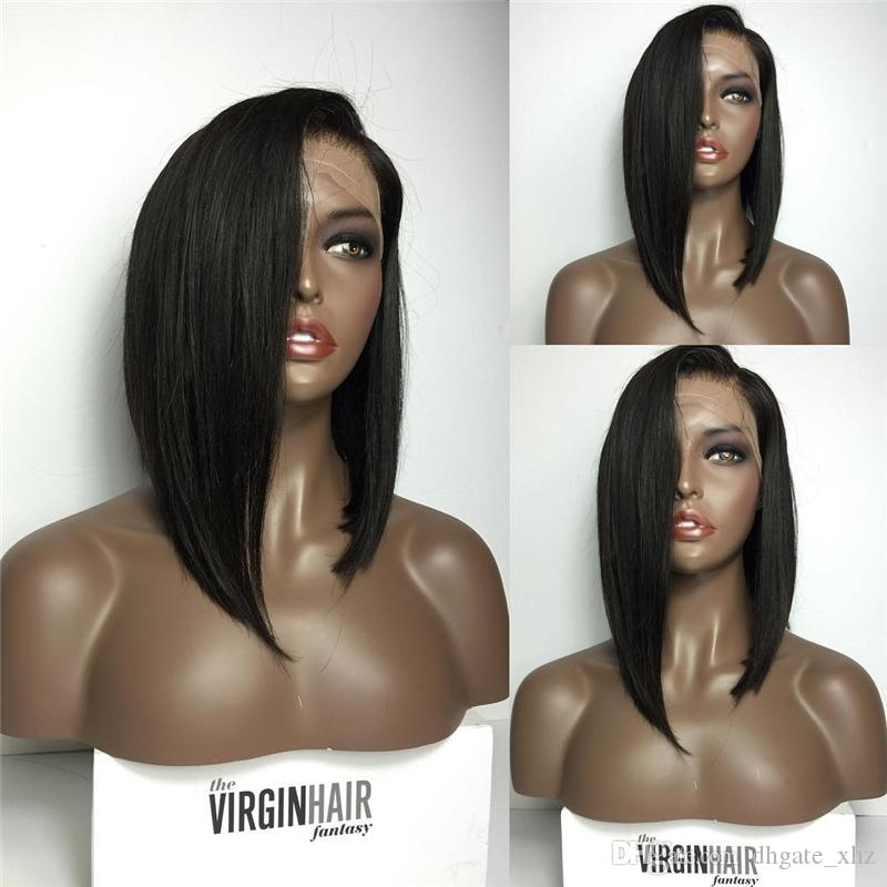 Silky Straight Bob Human Hair Full Lace Wigs With Bangs virgin Brazilian Lace Front Human Hair Wig For Black Women
