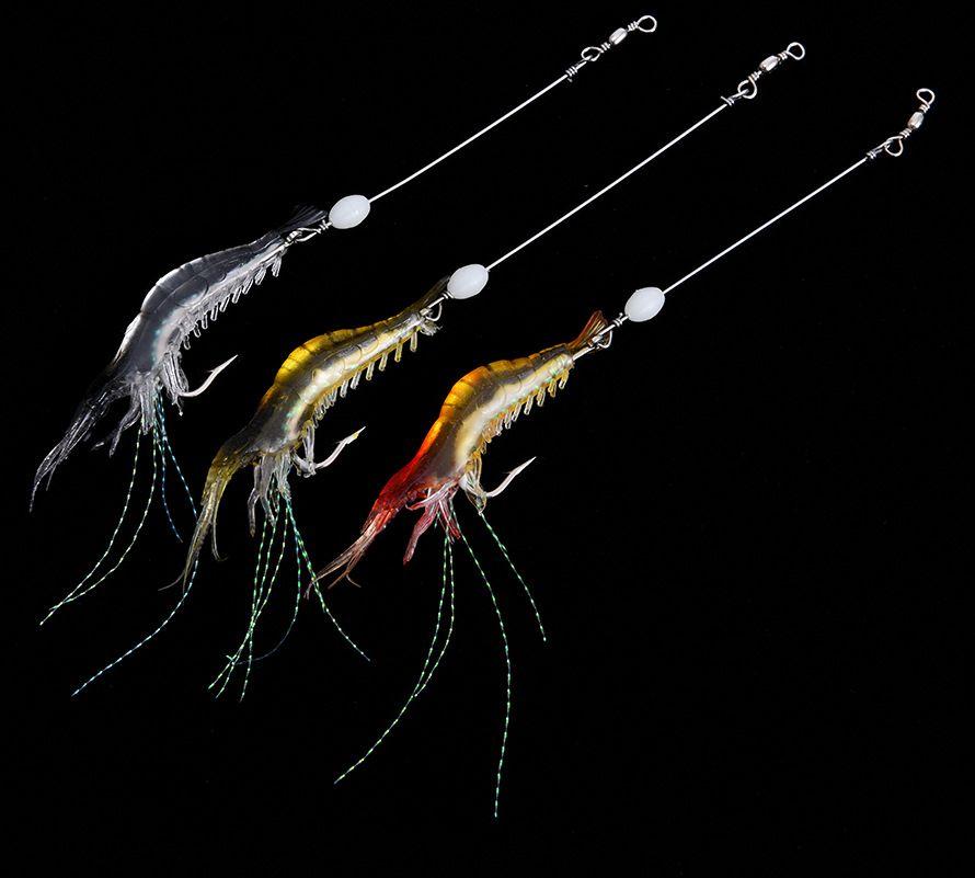 All'ingrosso nuovo arrivo 18 cm pesca esche gancio morbido bionimetico bionico gamberetto noctilucent durevole tackle da pesca per pesca esca 3 colori