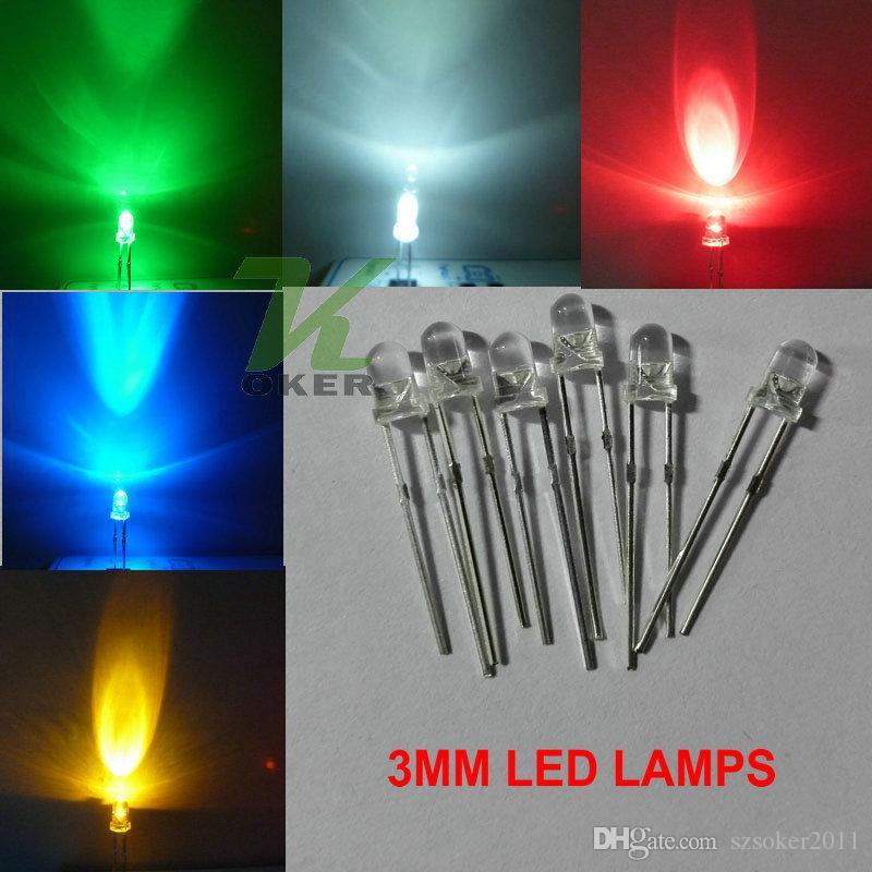 1000pcs 3mm Round Water Clear LED lampada bianca rossa blu verde giallo rosa viola led diodi spedizione gratuita