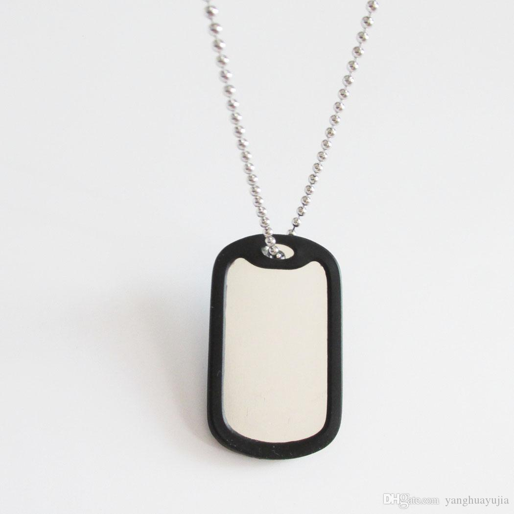 100sets/lot Aluminum Military Dog Tag With Rubber Silencer and 60cm Bead Chain Army Men Pendants