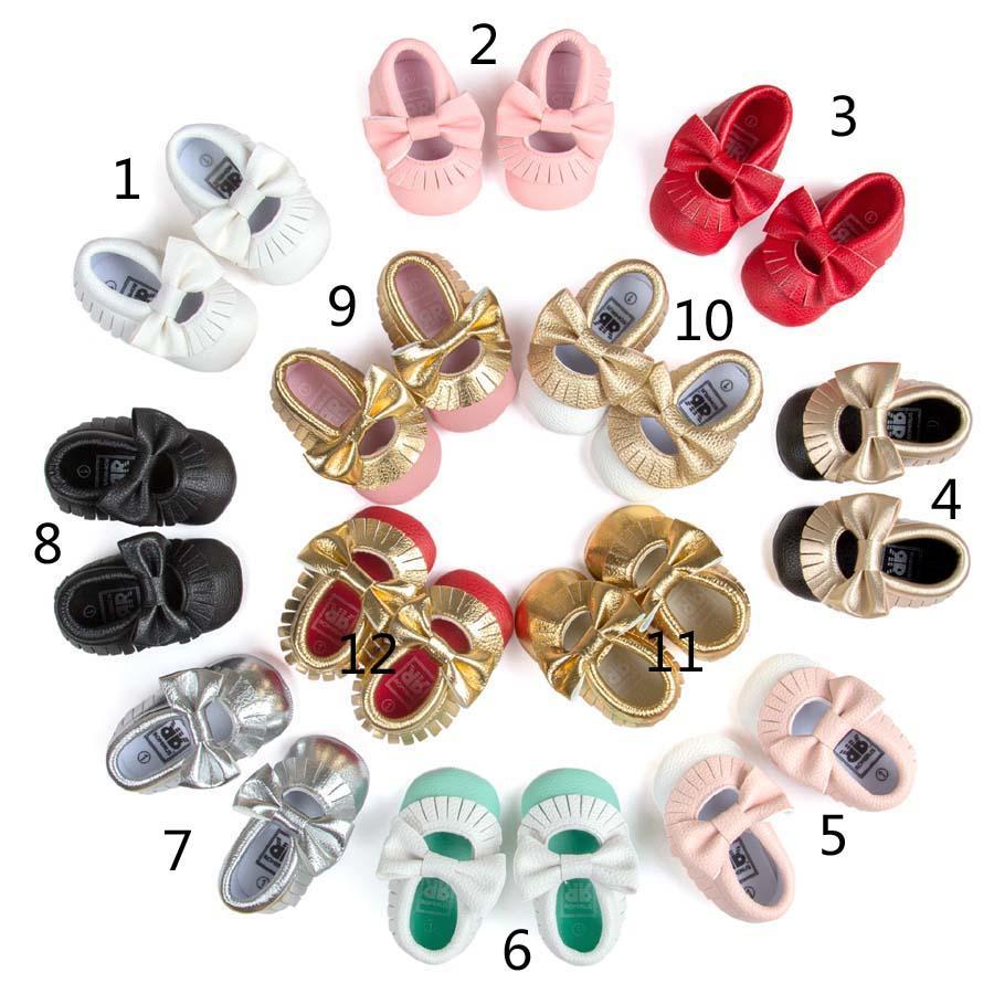2016 Baby Soft PU Leather Tassel Moccasins walker shoes baby Toddler Bow Fringe Tassel Shoes Moccasin 12colors choose freely