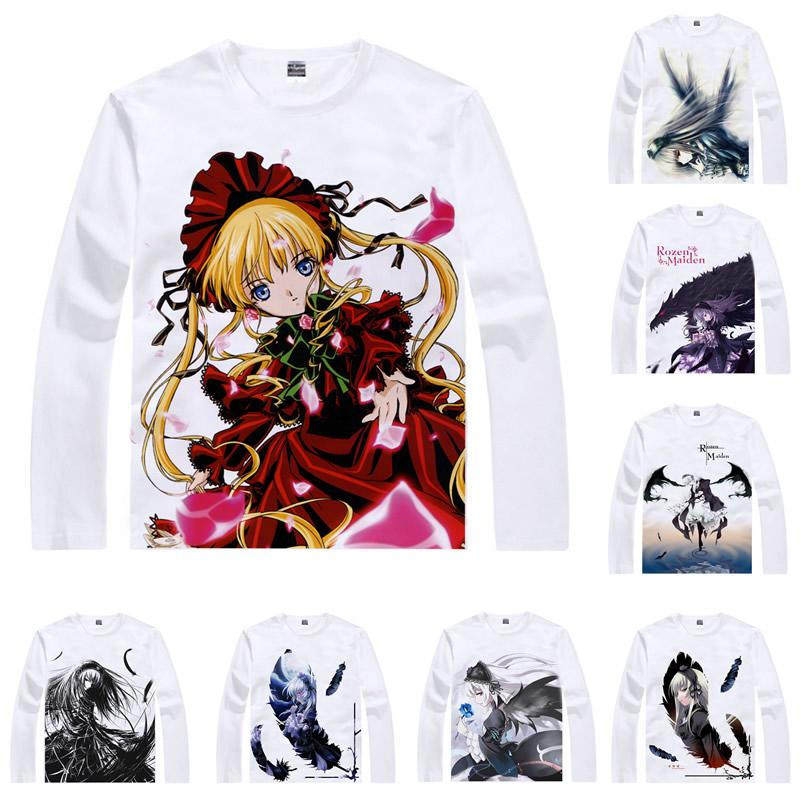 Anime Shirt Rozen Maiden T-Shirts Multi-style Long Sleeve Suigintou Suiseiseki Shinku Cosplay Motivs Kawaii Shirts