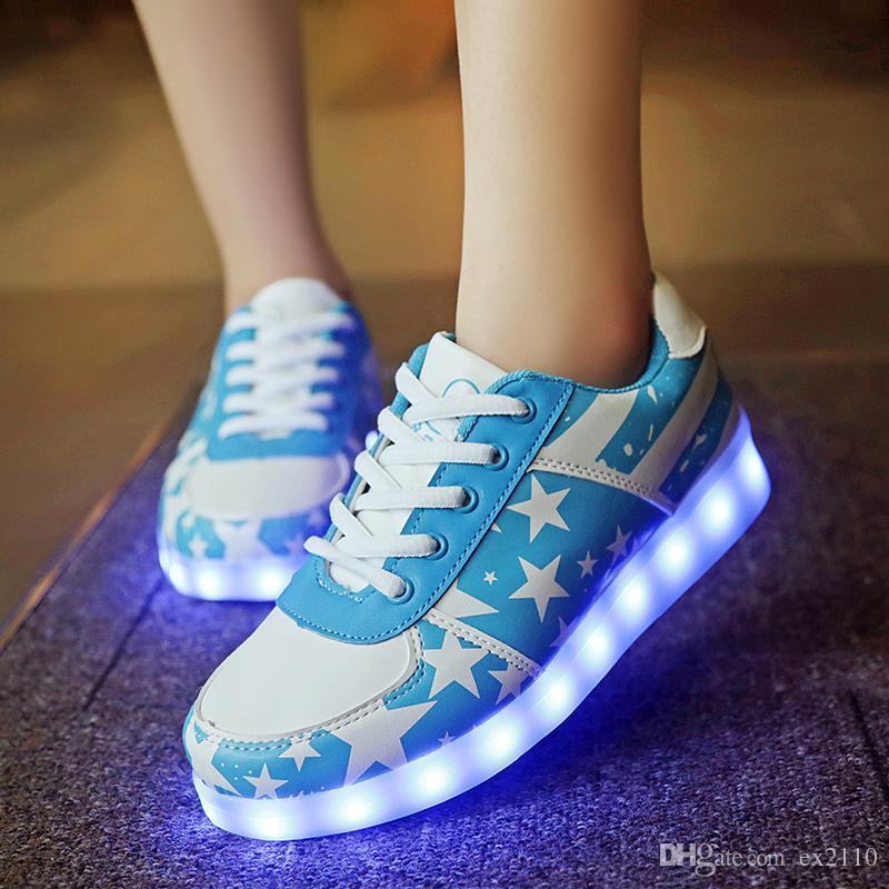 2016 LED Freizeitschuhe Damen Mode Schuhe für Erwachsene Übergröße Leuchtend