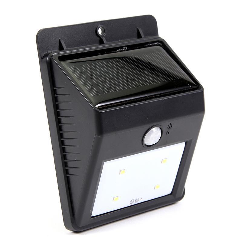 Lámpara solar Lámpara inalámbrica de 4LED de seguridad Sensor de movimiento solar Luz de jardín al aire libre con función de encendido / apagado automático para patio Jardín