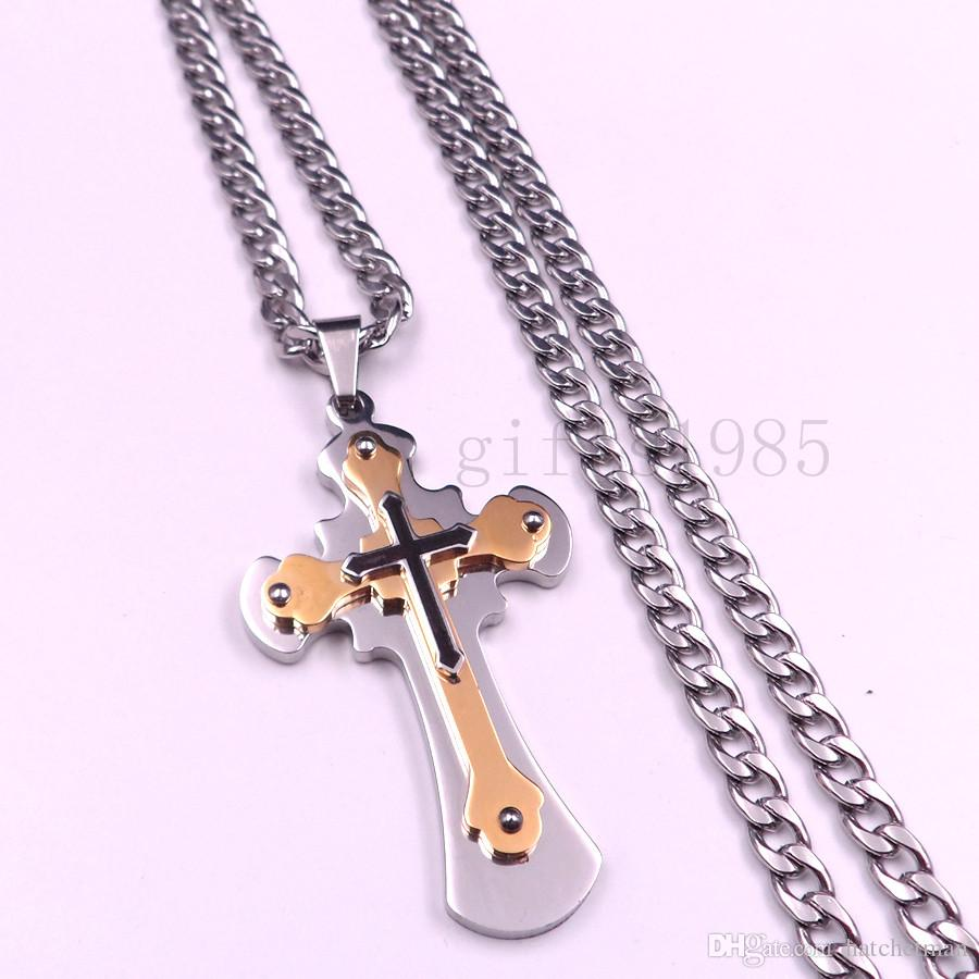 New Fashion Men's Silver Black 316L Stainless Steel Cross Pendant Necklace
