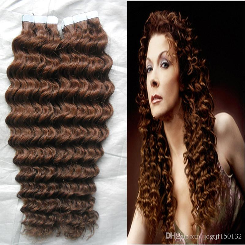"""10-28"""" Tape Hair Extensions Virgin 100G Human Tape In Hair Extension Skin Weft PU Extension Remy 30 Auburn Brown Curly Tape Hair"""