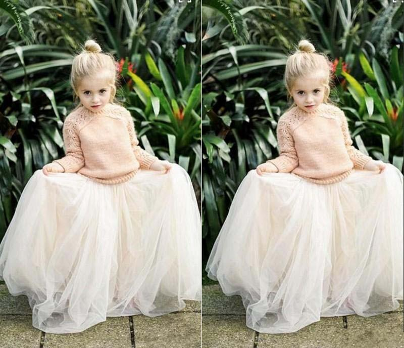 2016 Lovely Baby Girls Tulle Skirts White Princess Tutu Ball Gown Flower Girl Party Dresses For Skirt Wedding Cheap Children's Long Skirts