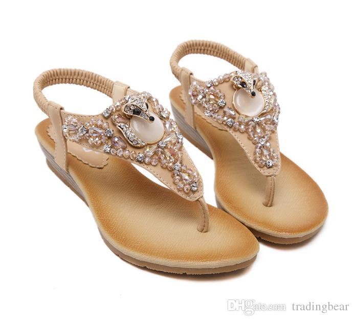 Artı Boyutu 35 To 40 Bohemian Gem Rhinestone Sandalet Kadınlar Flats Plaj Ayakkabı Yumuşak Rahat El Yapımı 2 Renkler