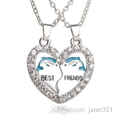 Best Friends Necklace Set Silver Plated Dolphin Rhinestone Embellished Necklaces Gift Idea Unique Jewelry Chokers Necklaces