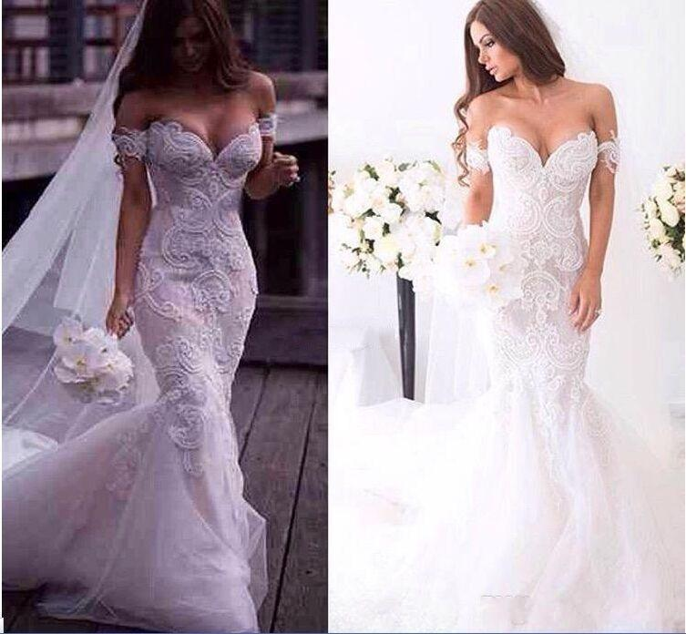 2016 Gorgeous Arabic Spring Lace Mermaid Wedding Dresses Ivory Off Shoulder Sweetheart Backless Court Train