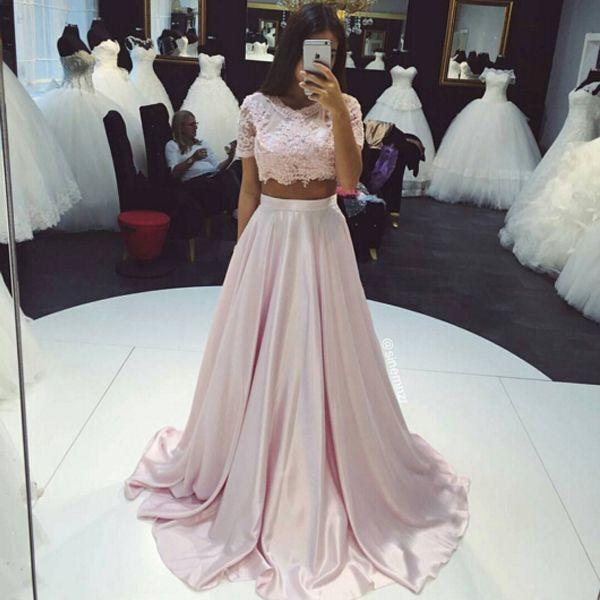 Vestidos de fiesta más nuevos populares de dos piezas Blush Pink Illusion Mangas cortas Apliques de encaje Blusa Vestidos de fiesta formales largos de noche personalizados