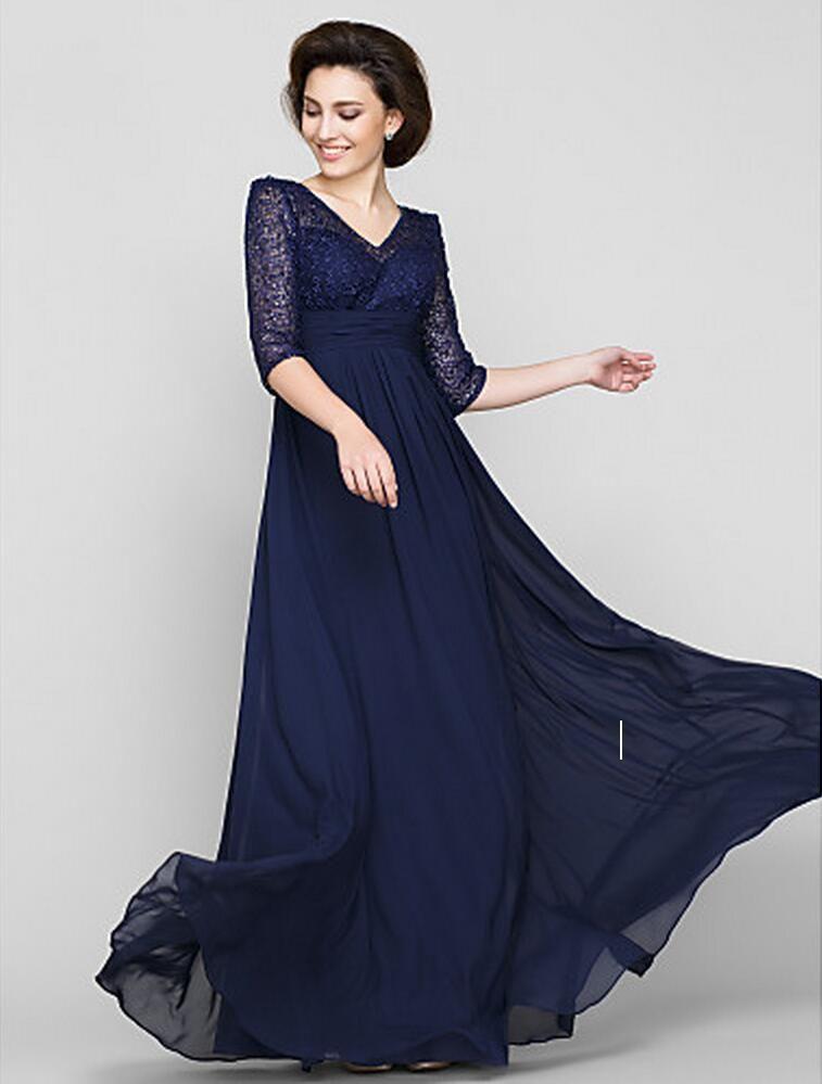 새로운 무료 배송 Dark Navy V-Neck A 라인 바닥 길이 반 슬리브 레이스와 시폰의 신부 드레스의 어머니