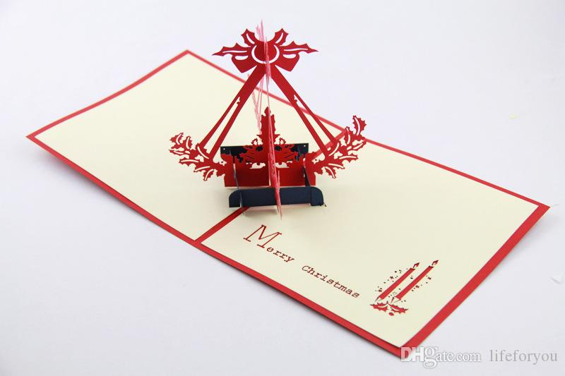 Biglietto di auguri di Natale candele di auguri di Natale decorazione di Natale cartoline di Natale per saluto bessing carte pop-up biglietto di auguri